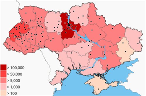 Reproduced from Wikipedia, color shows estimated number of people participating in local Euromaidan rallies in Nov 2013 – Feb 2014, dots show cities where mass protests took place