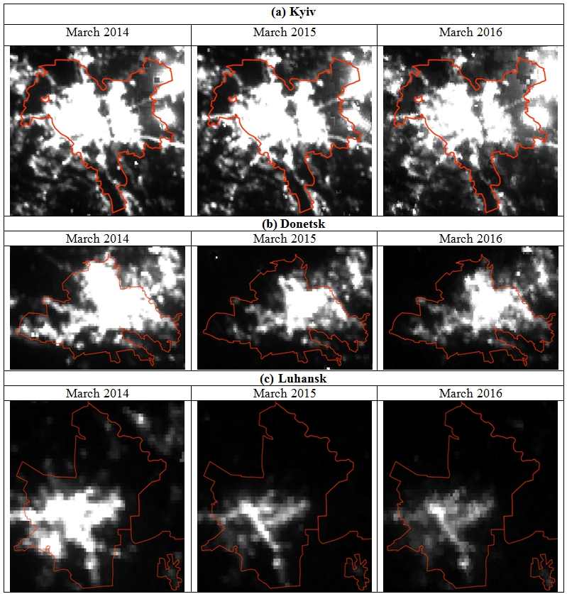 Notes: Radiance was linearly scaled from 0 to 10 nW/cm2/sr, where black pixels represent 0 and white represent 10 or more nW/cm2/sr. Administrative boundaries for cities: © OpenStreetMap contributors, CC BY-SA.