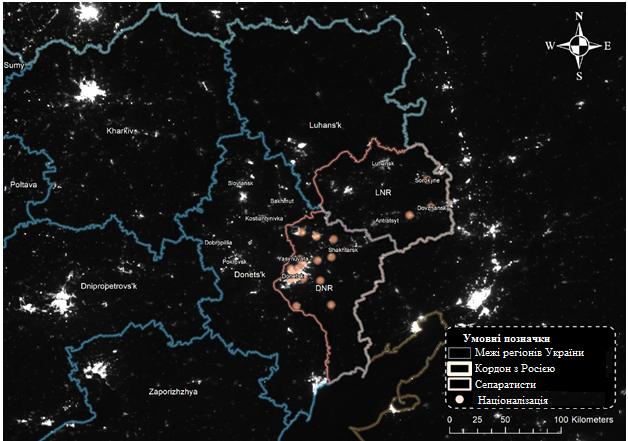 Освещённость в Восточной Украине и на территориях городов