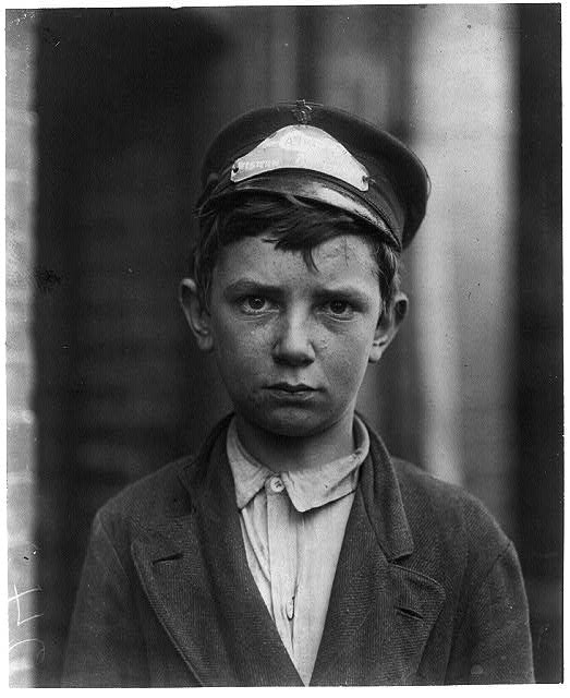 Richard Pierce, 723 Walnut St. Western Union Telegraph Co. Messenger No. 2. 14 years of age. 9 months in service. Works from 7 a.m. to 6 p.m. Smokes. Visits houses of prostitution. Investigator, Edward F. Brown. Location: Wilmington, Delaware / Photo by Louis [i.e. Lewis] W. Hine, May, 1910.