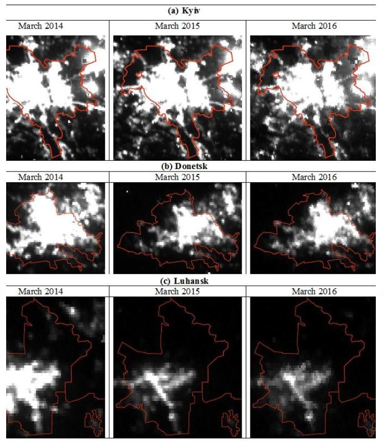 Примітки: Інтенсивність освітленості за лінійною шкалою від 0 до 10 нВт/см2/ср, де чорні пікселі - 0 , а білі - 10 нВт/см2/ср і більше. Адміністративні межі міст: © OpenStreetMap contributors, CC BY-SA.