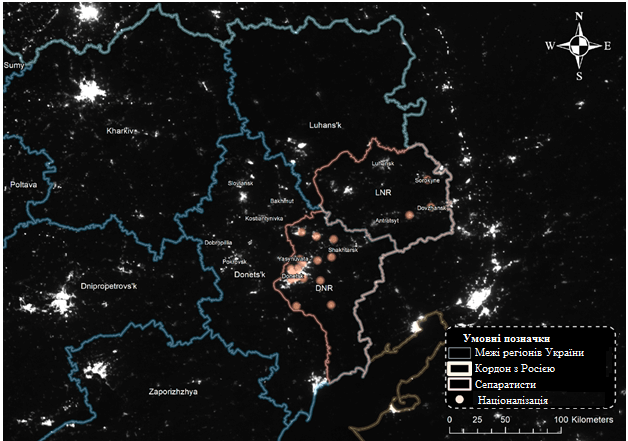 Luminosity in Eastern Ukraine and Urban Areas