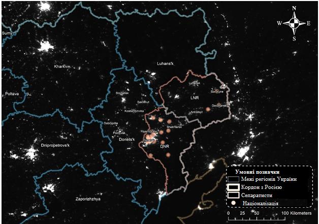 Освітленість у Східній Україні та на територіях міст.