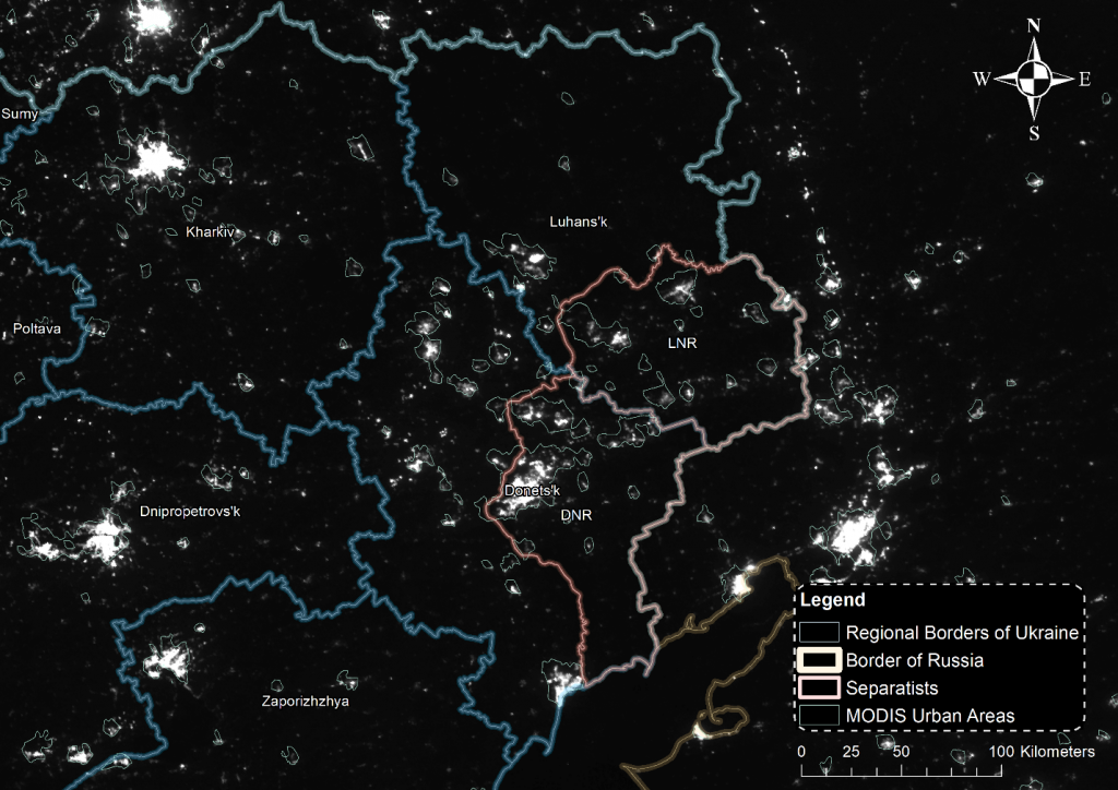 Освещенность в Восточной Украине и на территориях городов