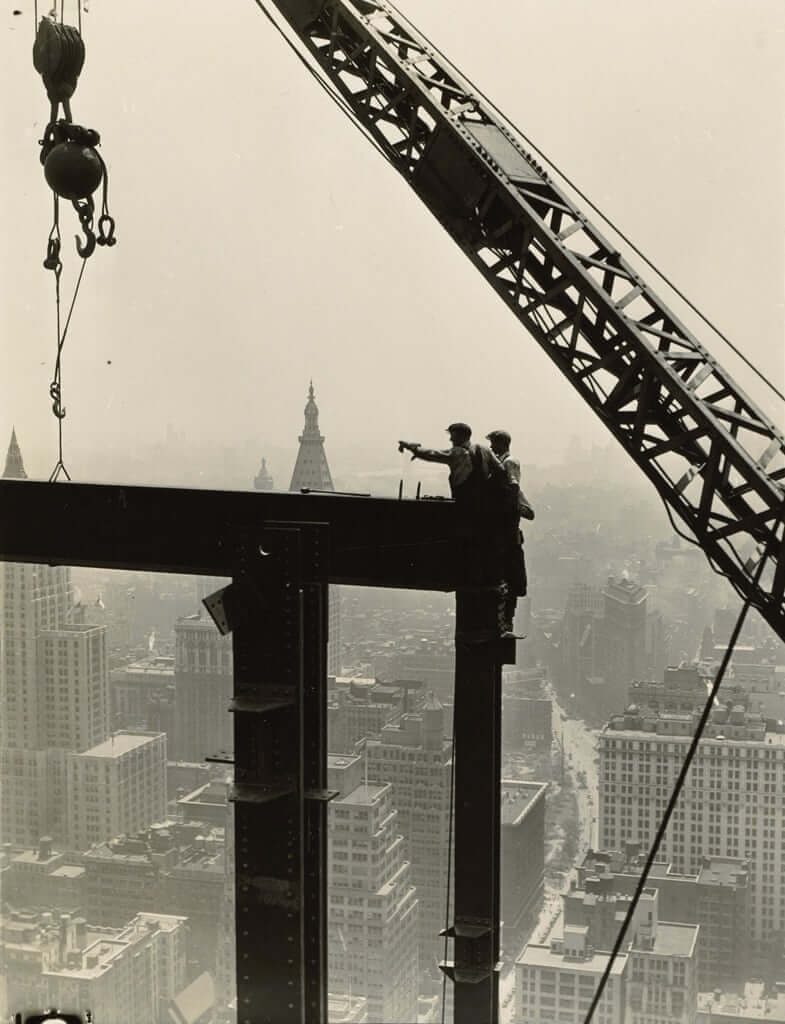 Derrick and workers on girder, Empire State Building, 1930-31