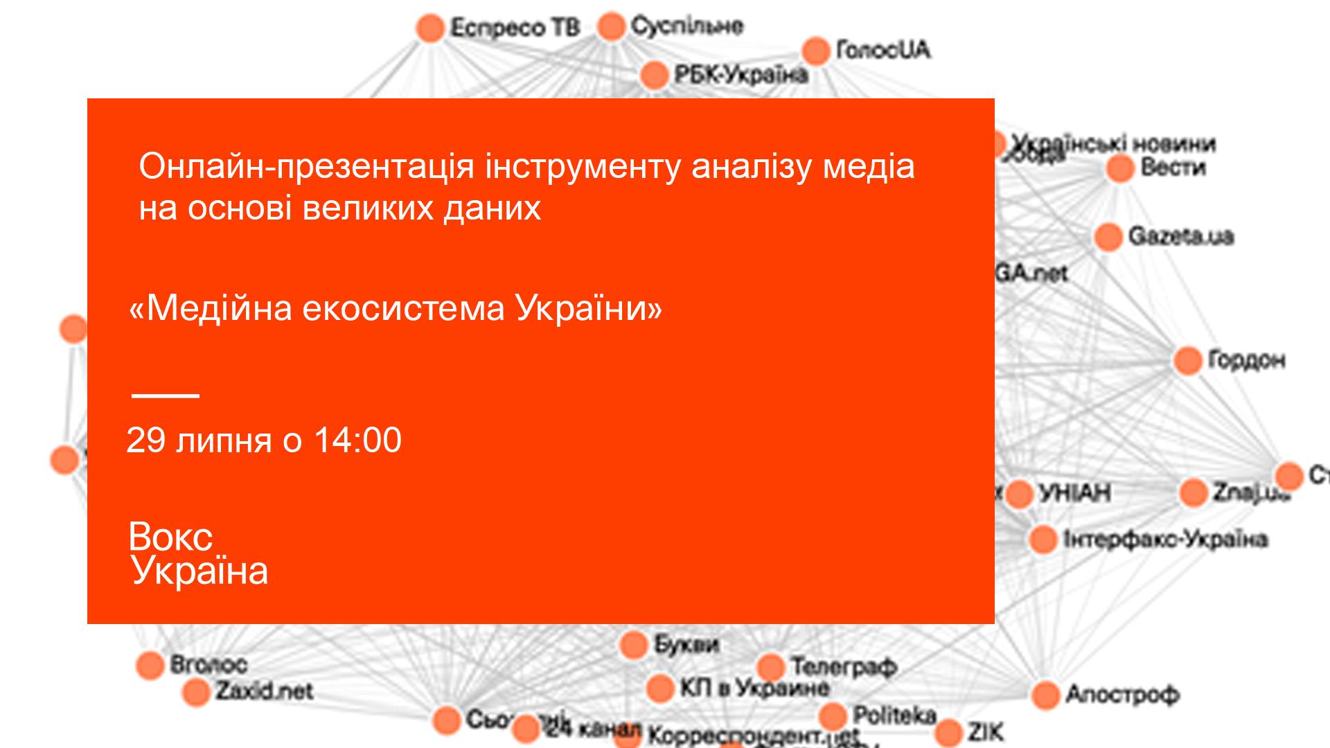 Онлайн-презентація інструменту аналізу медіа на основі великих даних: «Медійна екосистема України»